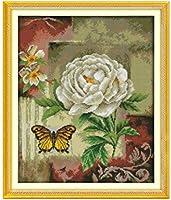 クロスステッチ刺繡キット、花に蝶、11CT 40X50cmDIY初心者アートクロスステッチ刺繡スターターキット用品針仕事家の装飾ギフト