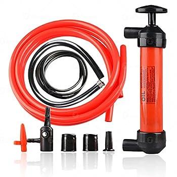 Zone Tech Siphon Fuel Liquid Transfer Pump Kit - Hand Gasoline Oil Liquid and Air Pump - Travel Emergency Manual Vehicle Car Tool