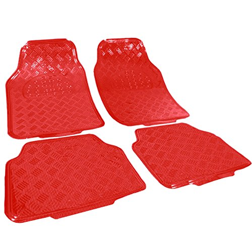 WOLTU Universal Auto Fußmatten 4-teilig Alu Chrom Optik Riffelblech Rot 7103