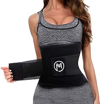 Waist Trimmer Trainer Belt for Women Men Sport Sweat Workout Body Shaper Sauna M Black
