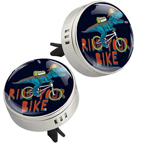 Lurnies Bicicleta de Dinosaurio Ambientador difusor de Aceite Esencial de aromaterapia de Plata para Coche con Cristal y Almohadillas de Recarga 34x46mm
