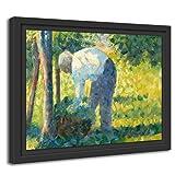 Printed Paintings Marco Americano (100x70cm): Georges Seurat - El Jardinero