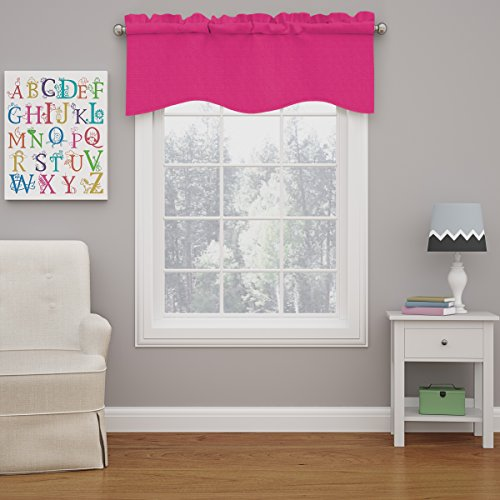 """ECLIPSE Kendall Solid Scalloped Window Valance Curtains, 42"""" x 18"""", Raspberry"""