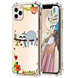 Hepix Cute iPhone 11 Pro Case Funny Sloth Hanging on Tree Design Slim Fit Soft TPU Protective Clear Case, Four Reinforced Bumpers Anti-Scratch for iPhone 11 Pro 2019(5.8')