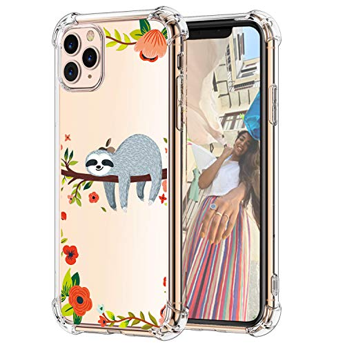 Hepix iPhone 11 Pro Sloth Case, Sloth Hanging on Tree 11 Pro Cases, Cute Funny Pattern Slim Fit Soft TPU Protective Clear 11 Pro Case with Four Bumpers Anti-Scratch for iPhone 11 Pro 2019