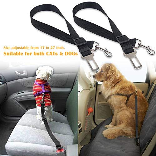 elloLife [2 Stück] Hunde Sicherheitsgurt, Einstellbar Hundesicherheitsgurt Sicherheitsgeschirr für Auto für alle Hunderassen Katzen& Autotypen, Schwarz