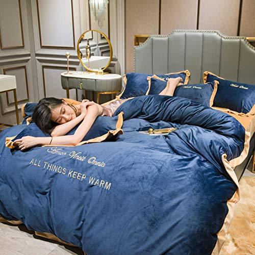 juego de funda nórdica 260x240,Plus terciopelo engrosamiento único estilo simple dormitorio de estudiantes sábana funda nórdica funda de almohada ropa de cama juego de tres / cuatro piezas-W_Cama de