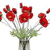 FLOWRY 6 amapolas artificiales rojas de seda falsas amapolas de maíz sintético con 2 cabezas de flores para el hogar, jardín, boda, decoración interior y exterior
