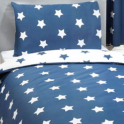 Price Right Home Navy Blue and White Stars Single Duvet Cover and Pillowcase Set