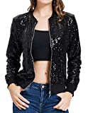 Women's Black Sequins Jacket Sparkly Zipper Up Casual Coat Bomber with Pockets(S,Black)