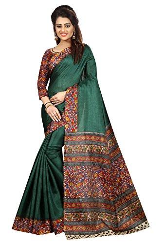 Peegli Saree Étnico Bhagalpuri Seda Verde Sari Casual Sari Regalo para Mujer