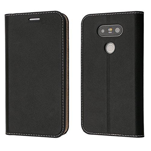 coodio Custodia LG G5, Custodia Portafoglio in Vera Pelle, Custodia in Pelle LG G5, Custodia Pelle Portafoglio Cover con Porta Carte, Funzione Stand, Chiusura Magnetica per LG G5