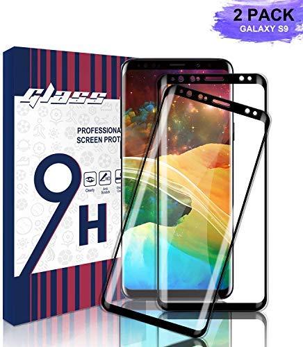 Youer Galaxy S9 Panzerglas Schutzfolie,[2 stück] Ultra-dünner Full Coverage HD Ultra Klar Abdeckung Gehärtetem Glas, Anti-Kratzer, HD Displayschutzfolie,9H Härte,Klar Glatt,Blasenfreie-Schwarz