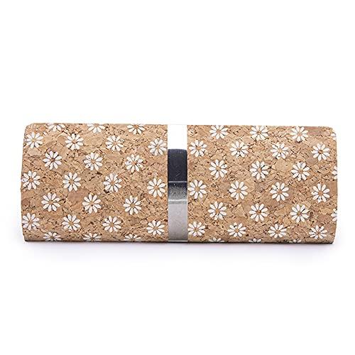 byoeko Funda corcho rígida para gafas ovalada con cierre magnético (Flores blancas)