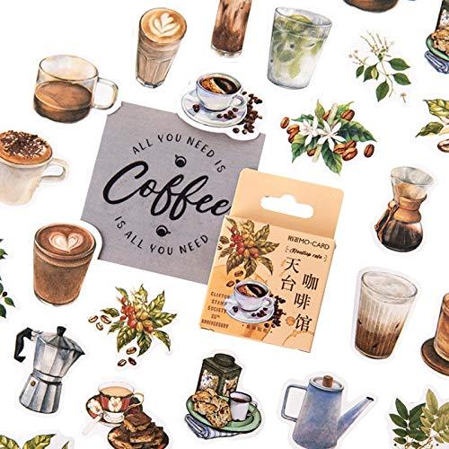 Dakbedekking Café Sticker Doos Vintage Koffie Stickers Diy Decoratie Scrapbooking Stickers Office School Levering Voor Kinderen46 stks