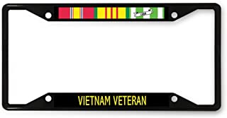 Sign Destination Metal License Plate Frame Vietnam Veteran A Car Auto Tag Holder Black 4 Holes One Frame