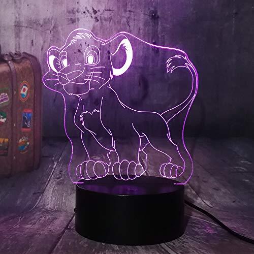 shiyueNB Le Roi Lion Lovely Little Simba 3D LED Illusion Night Light 7 Couleurs Lampe de Bureau Décoration de Chambre Enfant Jouet