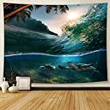 Jhdstore Ocean Tapestry Ocean Wave Sea Turtle Tapestry Wall Art Hanging Green Tapestry Nature Polyester Bedspread Sea Turtle Tapestry 51x59 Inches
