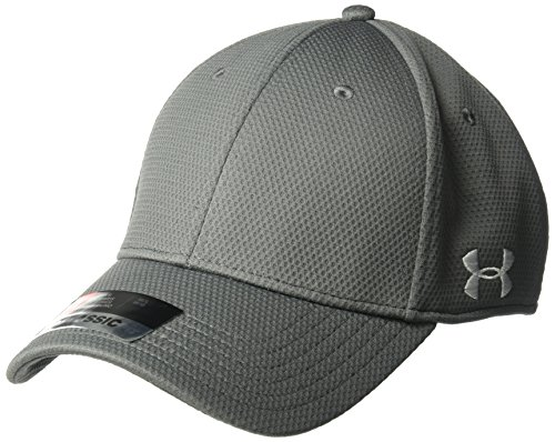 Under Armour Men's Curved Brim Stretch Fit Hat, Graphite (040)/White, Large/X-Large