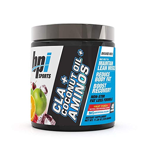 BPI Sports Health CLA + Coconut Oil + Aminos, Non Stimulant Fat Loss Supplement Powder, Boost Weight Loss, Maintain Lean Muscle, Fruit Punch, 40 Servings, 11.28 Ounce