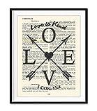 Love Is Kind, 1 Corinthians 13:4, Vintage Bible Verse Scripture Christian Art Print, Unframed, Wedding Anniversary Wall Art Decor Poster, Inspirational Gift, 8x10 Inches
