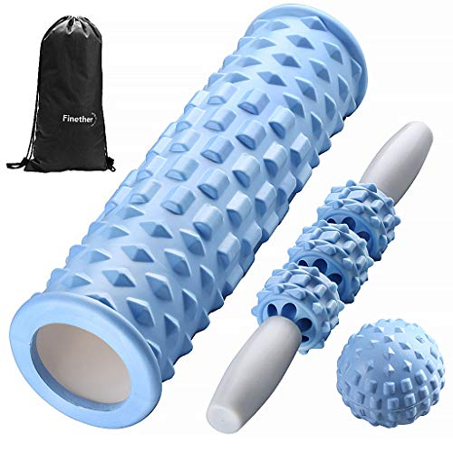 Finether Foam Roller Rullo Massaggiatore Set 3 Kit Fitness Rullo di Schiuma Stick e Sfera da Massaggio per Terapia Trigger Point e Massaggio Miofasciale Yoga Allevia Affaticamento Dolore Blu