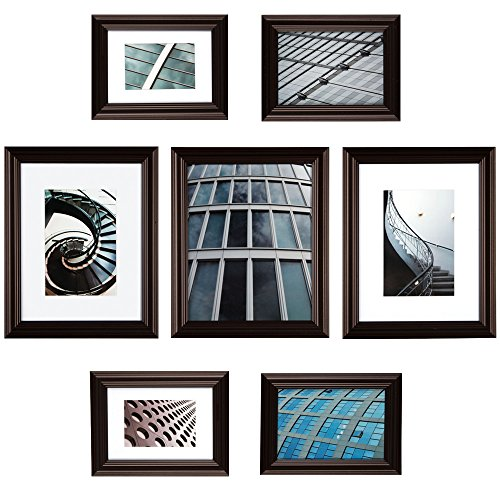 7 Piece Walnut Photo Frames By Gallery Perfect
