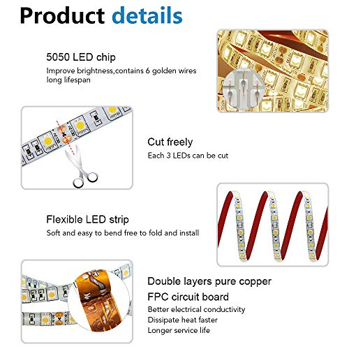 ALITOVE 16.4ft Warm White 3500K 5050 SMD LED Flexible Strip Ribbon Light 5M 300 LEDs Waterproof IP65 DC 12V for Home Garden Commercial Area and Festival Lighting
