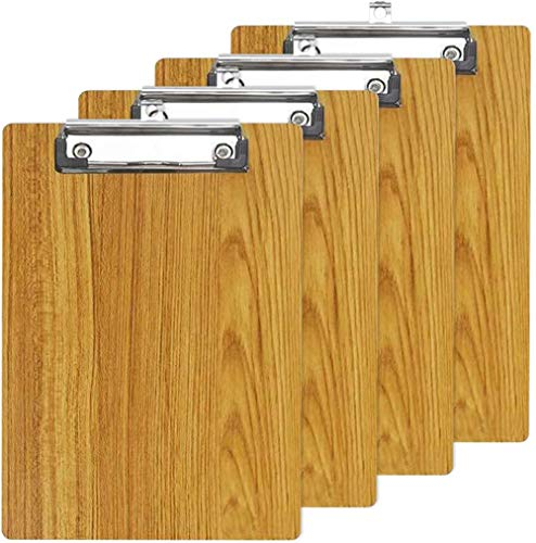 A4 Letter Size Clipboards - Premium Wood Grain File Clipboard Portable Low Profile Clip, Rounded Corners and Hanging Hole Design for Business Office, School, Set of 4 (Brown)