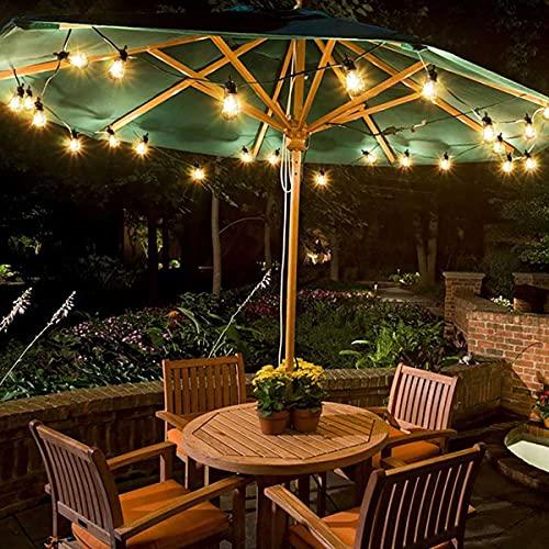 Guirnaldas Luces Exterior Solar Luces de cadena impermeable al aire libre con energía solar, bombillas de Edison Vintage, para jardín al aire libre Decoración de vacaciones luces de iluminación de ilu