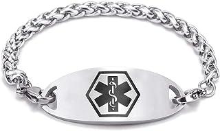 BBX JEWELRY Free Engraving Medical Bracelets for Women Alert ID Bracelets Stainless Steel Chain Medical ID