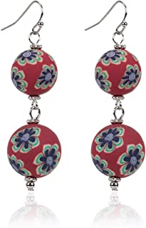 JUESJ Chinese Style Handmade Soft Porcelain Jewelry National Wind Porcelain Beads Dangle Earrings Trendy Unique 2018