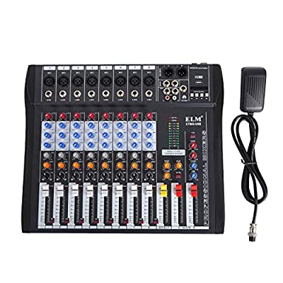 BuoQua 8 Channel Audio Mixer with 48V Phantom Power Mixing Console USB MP3 Audio Sound Mixer for Recording DJ Stage Karaoke Music Appreciation (8 Channel)