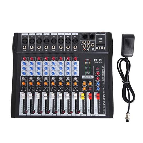 HODOY Mixer audio 48V Mixing Console Mixer audio USB MP3 per registrazione DJ Karaoke Music Apprezzamento (8 CANALI)