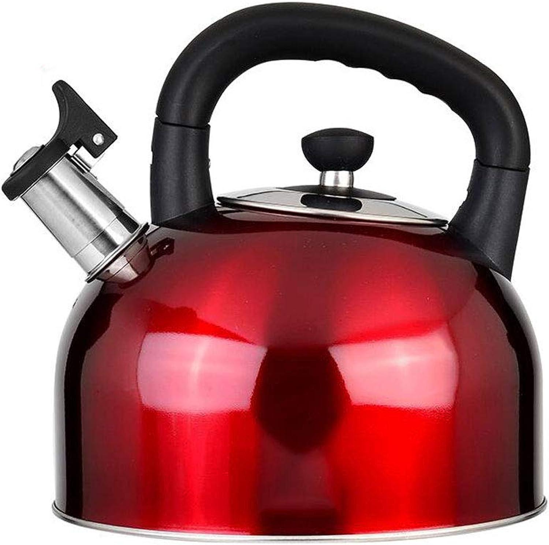 nueva gama alta exclusiva YULAN Estufa extraíble Tetera Tetera Caldera Acero Inoxidable de Gran Gran Gran Capacidad Silbato Cocina de inducción Cocina de Gas General 3 Color (Capacity   5L, Color   rojo)  te hará satisfecho