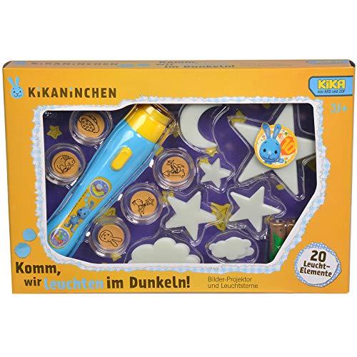 Preisvergleich Produktbild Kikaninchen Kika Hase Bilder Projektor mit 6 Motiven Leuchtsterne 20 Leuchtelemente Teile Taschenlampe Sterne Mond ab 3Jahren mit Batterien Leuchten im Dunkeln Kinder Spielzeug Kinderzimmer Dekoration