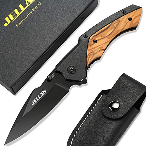 Klappmesser mit Spitzer und Gürteltasche, JELLAS Taschenmesser J-002 mit Schwarz Beschichteter 9Cr18-Klinge, Outdoor Messer für Camping, Jagd, Angeln mit Holzgriff