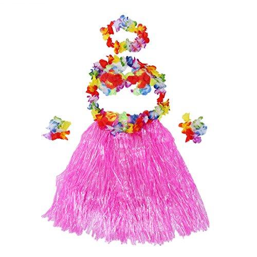 WOVELOT 6 Set Hawaiano Grass Skirt Flor Hula Lei Munequera Garland Disfraz - Rosa