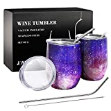 2 Pack Wine Tumbler with Lid & Straws, 12 Oz Stainless Steel Wine Cup Insulated, Double-Walled Wine Glass for Wine Coffee, Gift Set for Mom Men Women-Purple