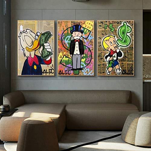 JEfunv ALEC Monopoly Geld Graffiti Kunst Gemälde an der Wand Kunst Poster und Drucke Monopoly Dollar Wandkunst Bild Moderne Wohnkultur 50x70 cm Kein Rahmen