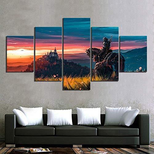5 Stücke Segeltuch Malerei HD-Drucke Witcher 3 Wild Hunt Spiel Bilder Der Wandkunst Modular Poster Für Wohnzimmer,B,30×50×2+30×70×2+30×80×1