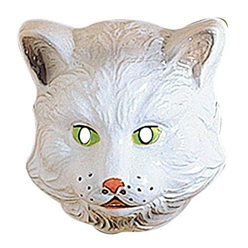 Amakando Masque d'enfant Chat Blanc déguisement Visage Animal Chaton en Plastique Dur Renard des neiges Accessoire fête d'anniversaire d'enfants Carnaval