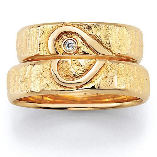 CORE by Schumann Design Trauringe/Eheringe aus 585 Gold (14 Karat) Gelbgold mit echten Diamanten GRATIS Testringservice & Gravur HEART
