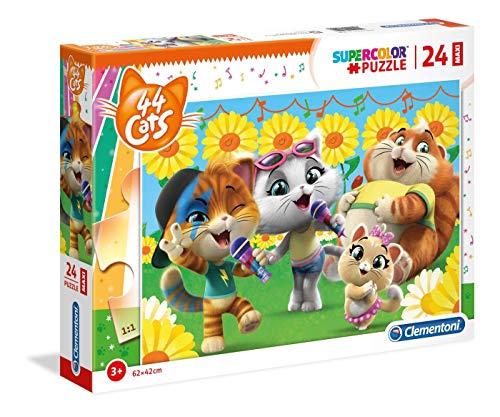 Clementoni- Supercolor Puzzle-44 Gatti-24 Maxi Pezzi, Multicolore, 28500