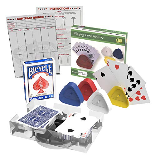chh bridge playing cards Bridge Cards Game Set with Authentic USA Made Bicycle Playing Cards, Four Card Holders and Score Pad with Game Instructions by All7s