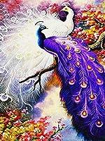 クロスステッチキット刻印刺繡-孔雀-大人の初心者スターターキット-DIYクロスステッチ針仕事フルレンジのプリントパターンクラフト家の装飾ギフト11CT(16x20インチ)