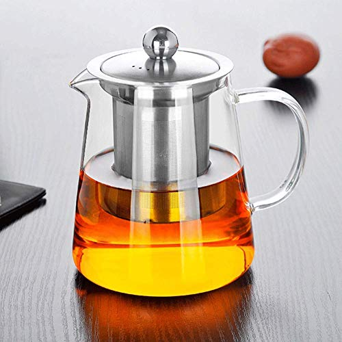 yunyu Tea Pots,Glass Tea Pots,Stainless Steel Infuser Perfect for Tea, Glass Teapot with Infuser Tea Pot, Tea Kettle Stovetop Safe Blooming and Loose Leaf Tea Maker, 1500ML Home Kitchen