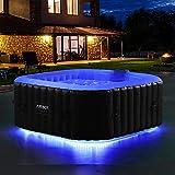 AREBOS vasca idromassaggio con striscia luminosa a LED | quadrata | vasca idromassaggio gonfiabile | per 4 persone | 130 ugelli | piscina gonfiabile