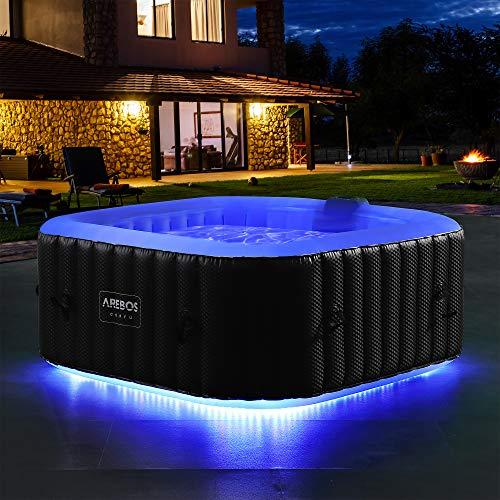 Arebos - Jacuzzi con banda luminosa LED cuadrada | Jacuzzi hinchable | Jacuzzi exterior | para 4 personas | 130 boquillas de aire | piscina hinchable
