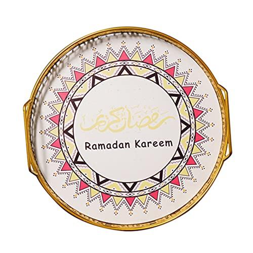 HEMOTON Ramadán Madera Caramelo Bandeja de servir Vajilla Eid Mubarak Vajilla para Desayuno Cena Postre Pastelería Display Holder 26. 5cm